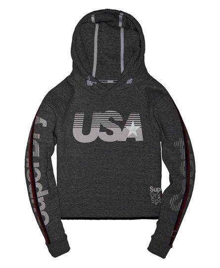 Superdry Gym Tech USA Crop Hoodie