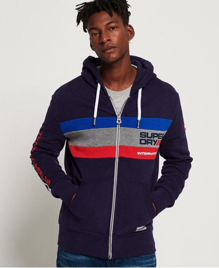 d1df47c7714a Mens - Trophy Tri Colour Zip Hoodie in Dark Trophy Navy | Superdry