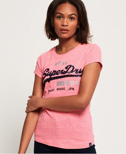 Superdry T-shirt à sequins Vintage Logo