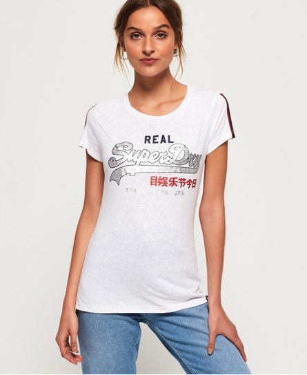 Superdry T-shirt a righe con logo Vintage Regal