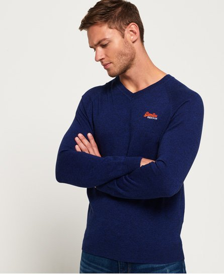 Superdry Maglione in cotone con scollo a V Orange Label
