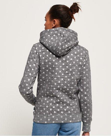 Superdry Damen Sweater VNTGE LOGO STAR AOP ENTRY HOOD Grey Rugged