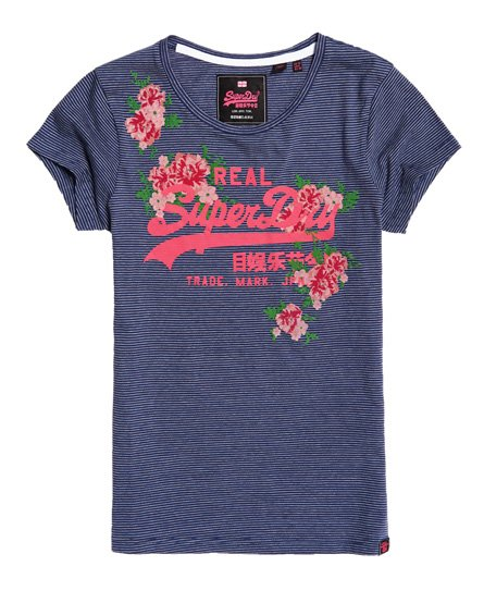 Superdry T-Shirt a righe con logo Vintage rosa