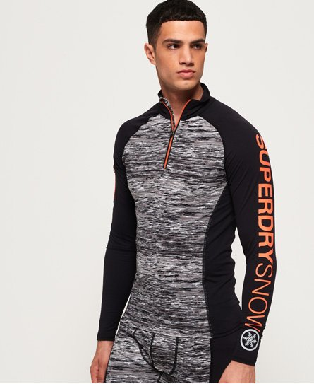 Superdry Carbon Base Layer-topp med kort glidelås