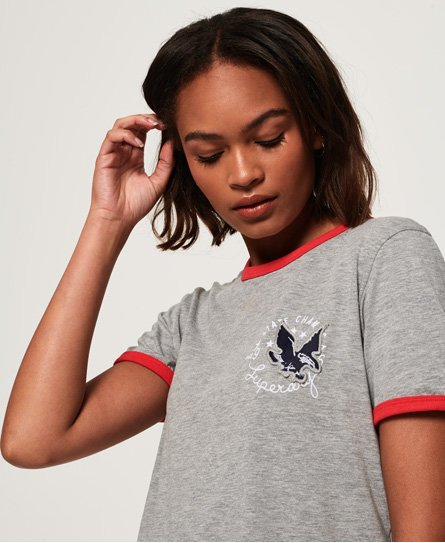 Superdry T-shirt con ricamo Eagle Champs Ringer Boxy