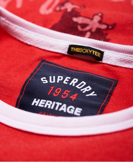 Superdry Kastenförmiges Eagle Champs Ringer T-Shirt mit Stickerei