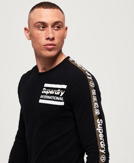 Superdry Schwarz-weißes International Langarm-T-Shirt