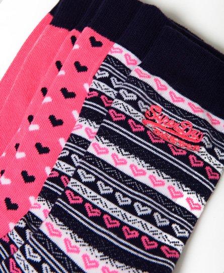 Superdry Lot de trois paires de chaussettes Heart Pop
