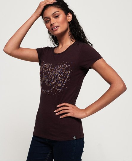 Superdry T-shirt Scatter à strass Classic Script