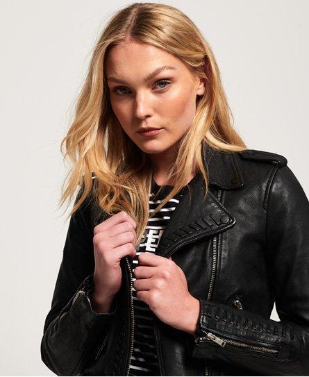 60b309d74e32 Womens - Kiki Leather Biker Jacket in Black