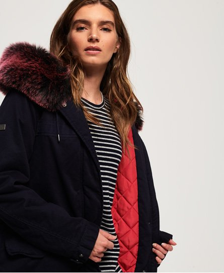 Superdry Hawk Coloured Faux Fur Parka Jacket