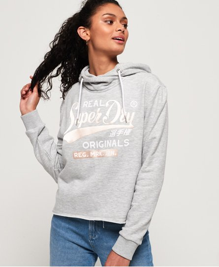 Superdry Real Originals Kurzhoodie im College-Stil mit Satin-Finish