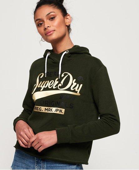 Superdry Real Originals Satin College Crop hettegenser