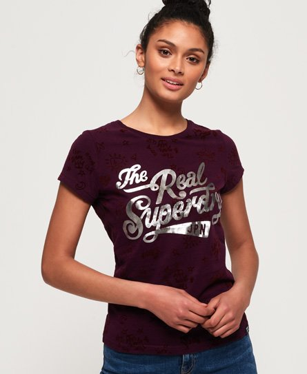 Superdry The Real Doodle T-Shirt mit durchgehendem Print