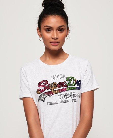 Superdry Vintage Logo Carnival T-Shirt mit Paillettenbesatz