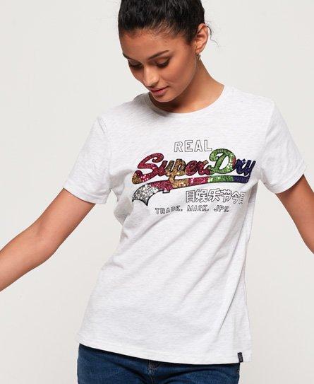 Superdry T-shirt con logo Vintage e paillettes Carnival