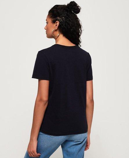 Superdry T-shirt con logo Vintage a paillettes tono su tono