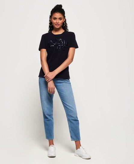 36dedef9 Womens - Vintage Logo Tonal Sequin T-Shirt in Eclipse Navy | Superdry