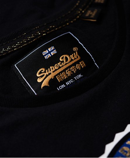 Superdry T-shirt a righe con stemma Tiger lamé