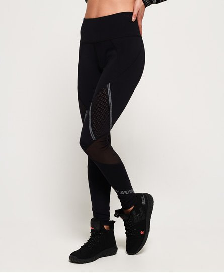 Superdry Leggings a inserti in mesh Active