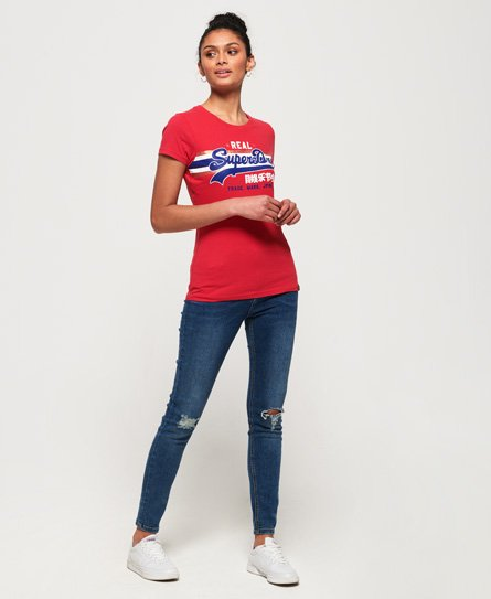 Superdry Vintage Logo T-Shirt mit Streifen in Folienoptik