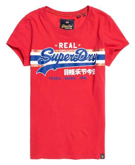 T Donna Logo A Righe Lamé Superdry Da Vintage Shirt Con rfAwPqrZ
