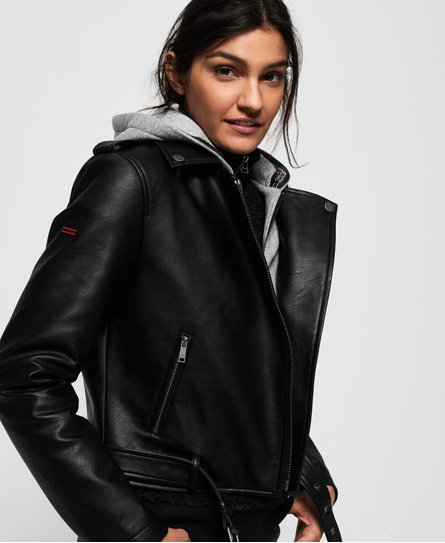 Superdry PU Hooded Biker Jacket