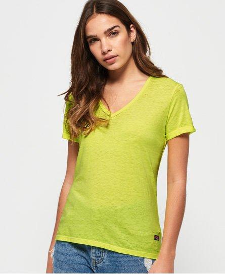 Superdry T-Shirt in Ausbrenneroptik mit V-Ausschnitt