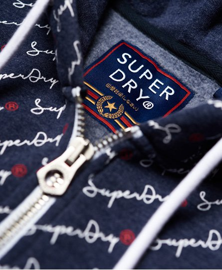 Superdry All Over Print-hettegenser med glidelås