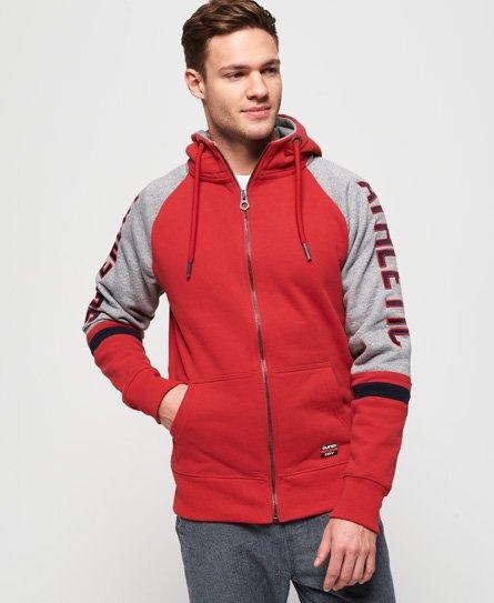 Superdry Gilet à capuche zippé contrasté à manches raglan et logo appliqu