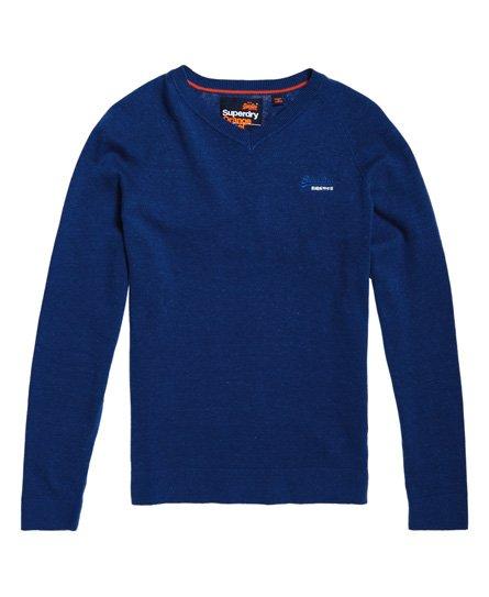 Superdry Pull en coton à col V Orange Label
