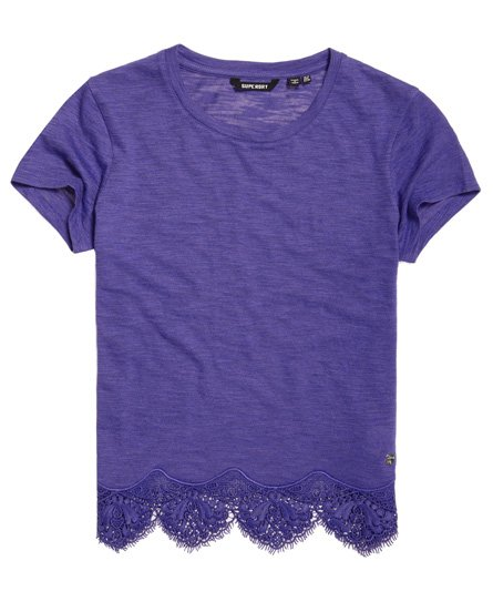 Superdry T-shirt con orlo in pizzo Morocco
