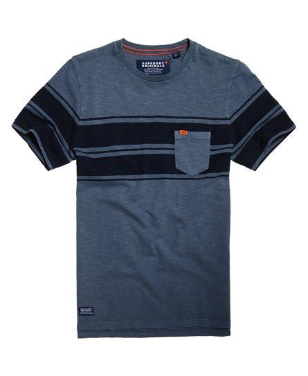 Superdry T-shirt a maniche corte a righe con taschino Dry Originals