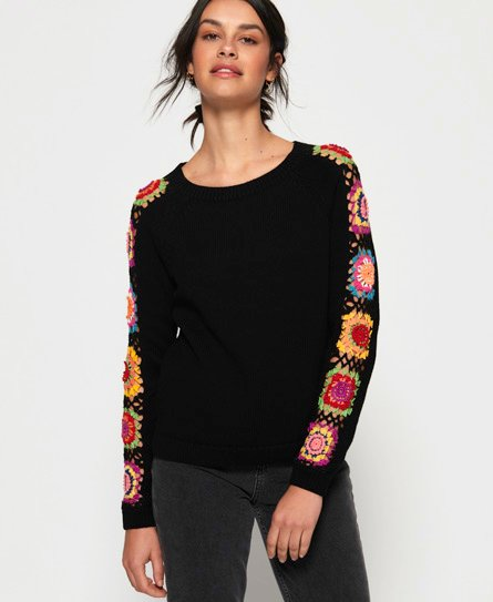 Superdry Flower Power Crochet-genser