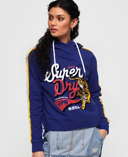 Superdry True Japan Tiger Kurzhoodie im College-Stil