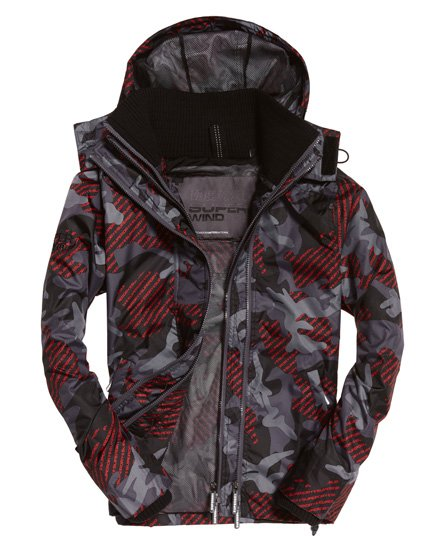 Superdry Technical Print Pop SD-windcheater met capuchon en rits