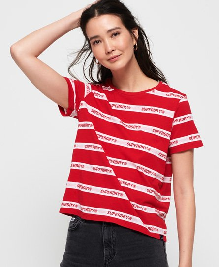 Superdry Cote Stripe Text T-shirt