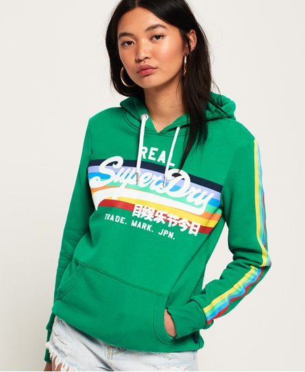 Superdry Sudadera con capucha y logo Vintage Retro Rainbow