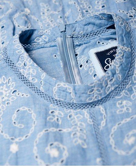 98161cd1bd Womens - Shelly Schiffli Dress in Pale Blue Chambray