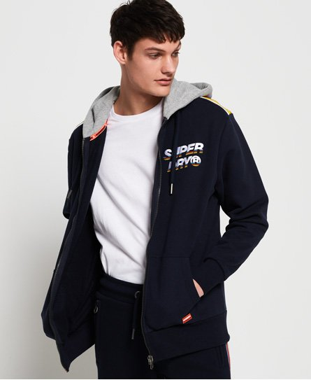 Superdry Cali Oversized Striped Shoulder Zip Hoodie