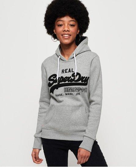 Superdry Sudadera deportiva con capucha, malla, aplicación decorativa y l