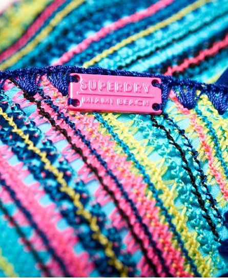 234e7c0fba7 Womens - Crochet Carnival Tri Bikini Top in Multi Stripe | Superdry