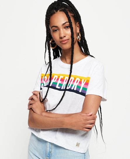 Superdry T-shirt graphique à motif arc-en-ciel