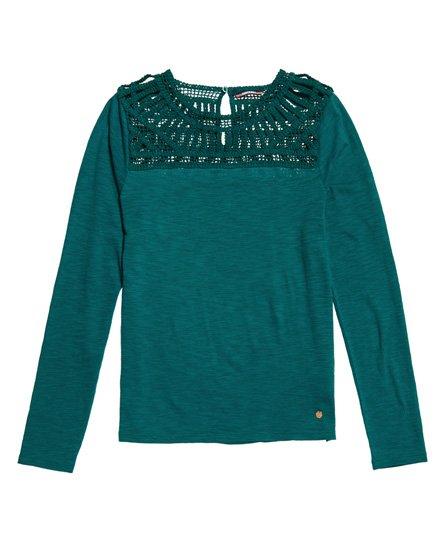 643f71a396f3 Γυναικεία - Μακρυμάνικη Μπλούζα Alana με Κροσέ και Δαντέλα σε μπλε ...