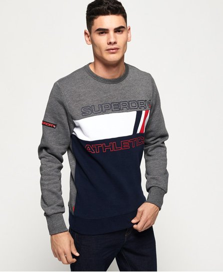 Superdry men\\\'s Trophy Tri line crew sweatshirt. This sweatshirt features a panelled design across the front with a textured Superdry logo, a soft fleece lining and a ribbed collar, cuffs and hem. Completed with a rubberised Superdry logo badge on one sleeve and the signature orange stitch in the side seam. Slim fit