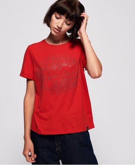 Superdry T-shirt droit Super Script Rhinestone Scatter