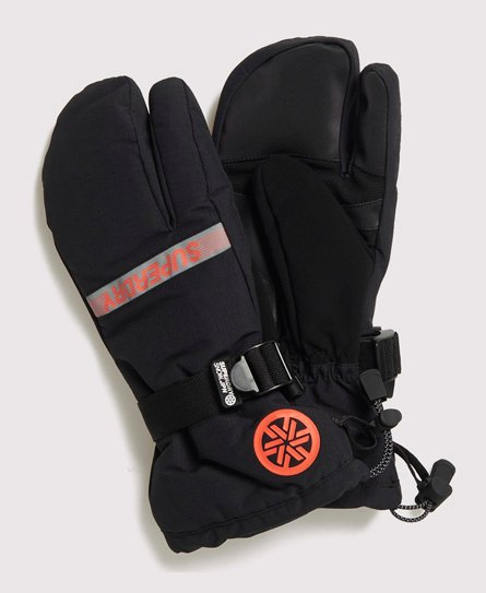 Superdry men\\\'s Ultimate snow rescue trigger mittens. These sturdy mittens are ideal for the slopes. Featuring technical reinforced palms, super soft interior, and highly breathable farbic for comfort. These mittens also feature weather tolerant coated fabric and waterproof inserts to keep you dry, and are finished with an adjustable strap for personalised fit, and a goggle wipe on the thumb so you can concentrate on the slope.