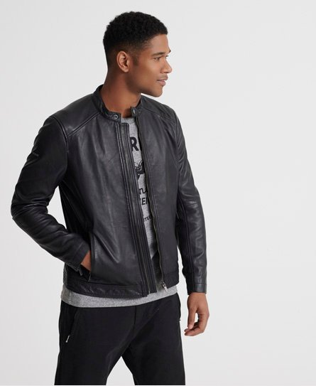 Superdry men\\\'s lightweight leather racer jacket. Made with 100% lamb leather this lightweight racer leather jacket features a zip fastening, popper collar, two zip front pockets, zip cuffs and an inside pocket with popper fastening. Finished with a Superdry metal logo badge to one arm and branded zip pulls and poppers.
