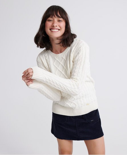 Womens Amelia Premium Cable Knit Jumper in Cream | Superdry