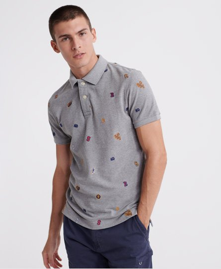 Superdry Classic All Over Embroidery Pique Polo Shirt